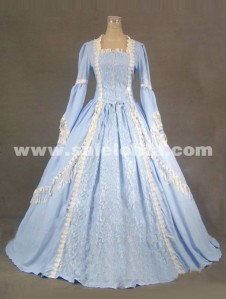 2014 Elegant Blue Long Sleeve Lace 17th 18th Century Renaissance Victorian Ball Gowns